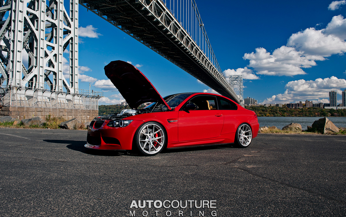 A-Red-BMW-E92-M3-With-HRE-Wheels-Installed-Hood-Open