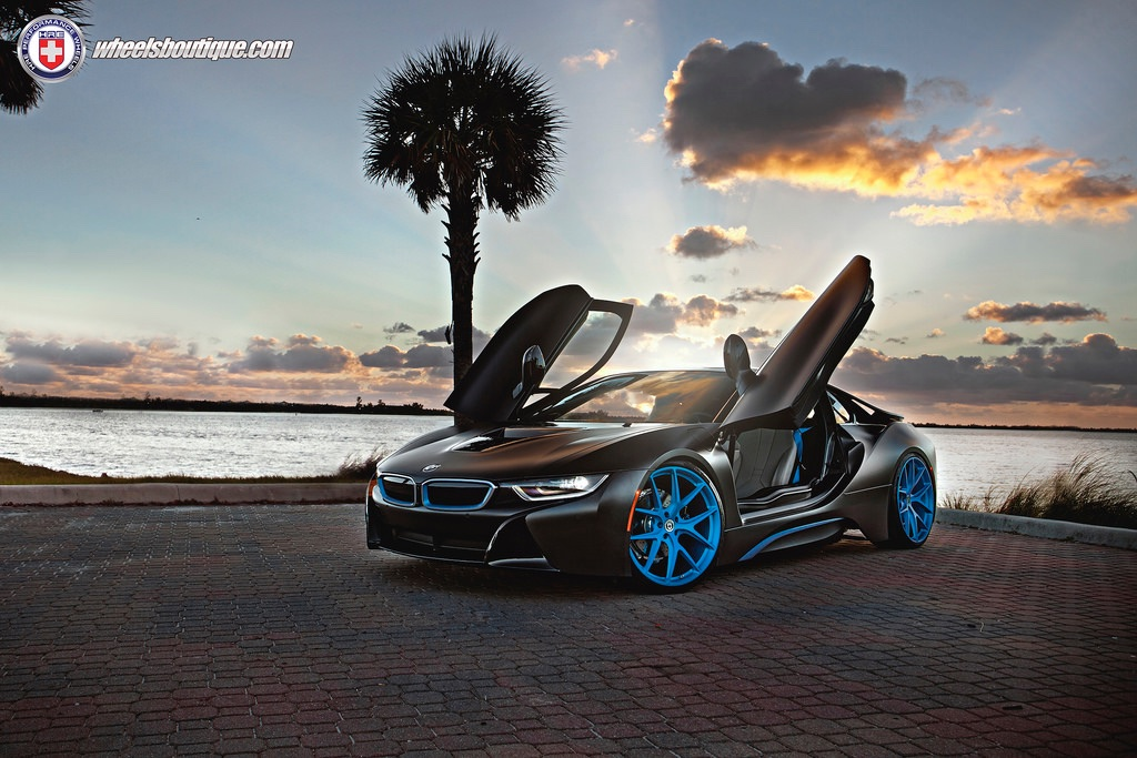 BMW-i8-HRE sunset door open