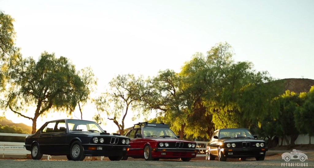 Nice E28 under sun and trees