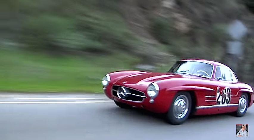 A Story of 1955 Mercedes Benz 300SL Gullwing Coupe Own by Jay Leno driving