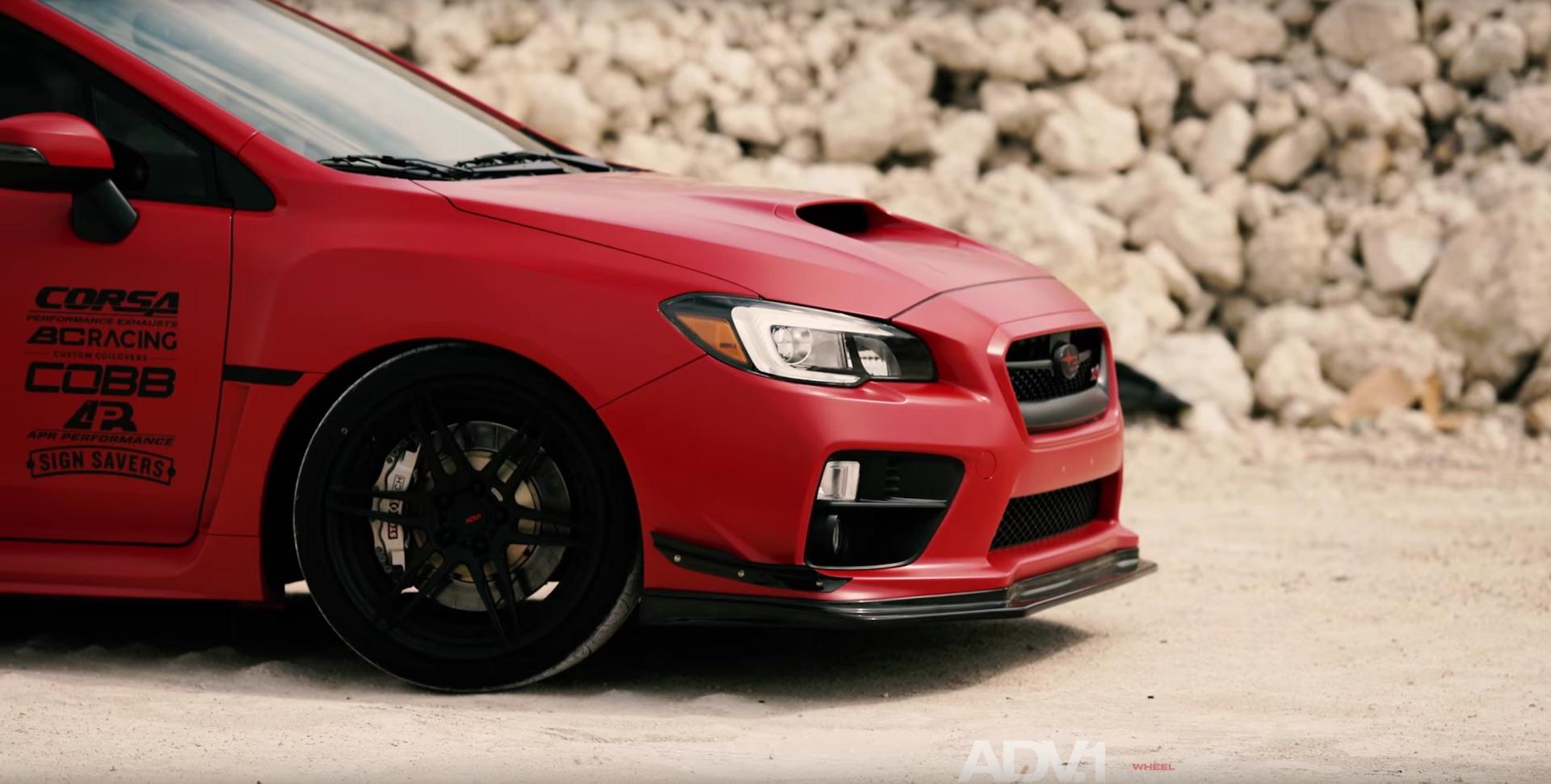 Matte Red Subaru WRX STI With ADV.1 Wheels - DamnedWerk