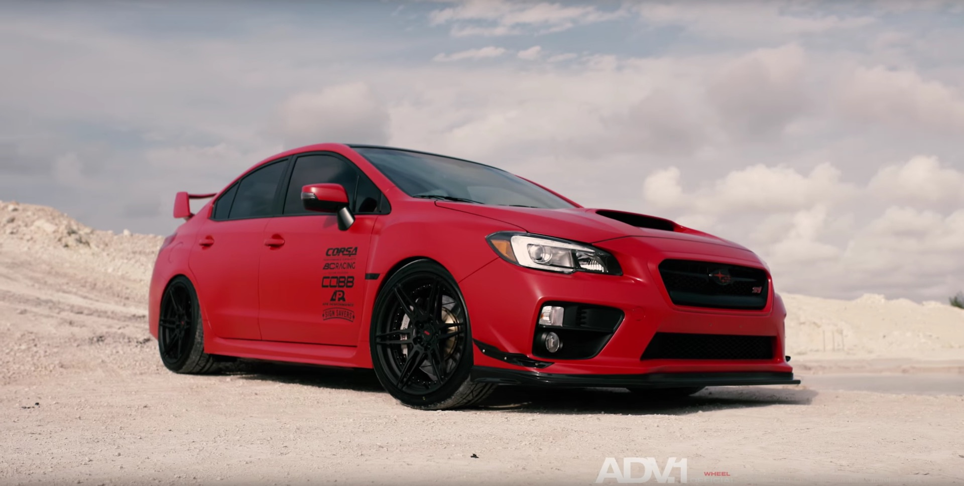 Matte Red Subaru Wrx Sti With Adv 1 Wheels Damnedwerk