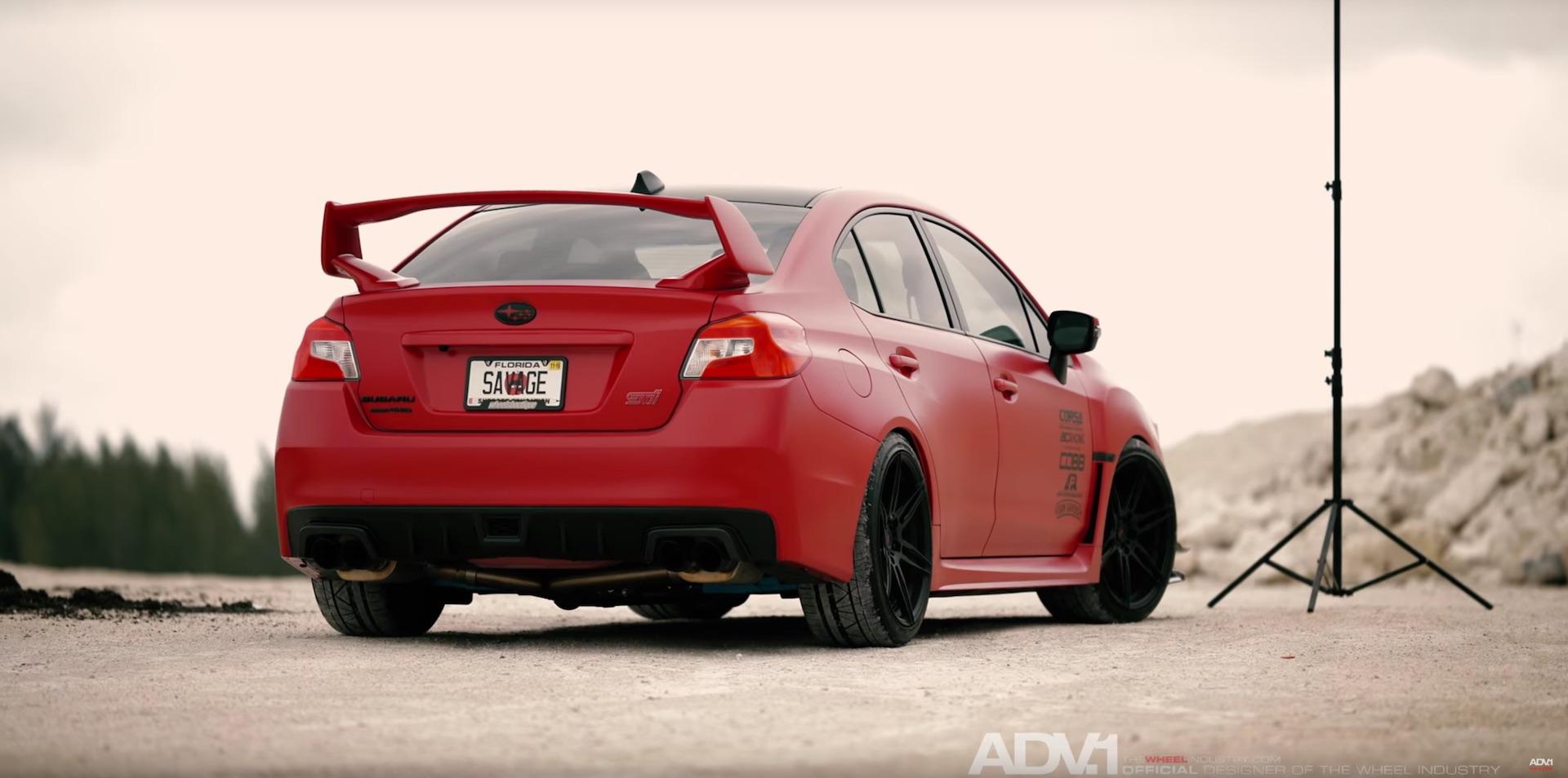 Matte Red Subaru Wrx Sti With Adv 1 Wheels Damnedwerk