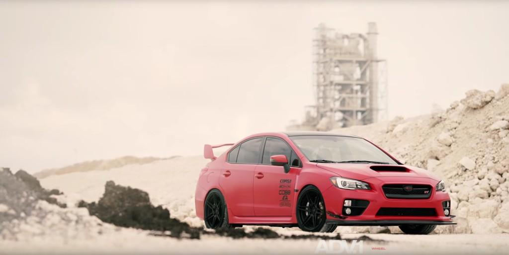 Matte Red Subaru WRX STI With ADV.1 Wheels - 9