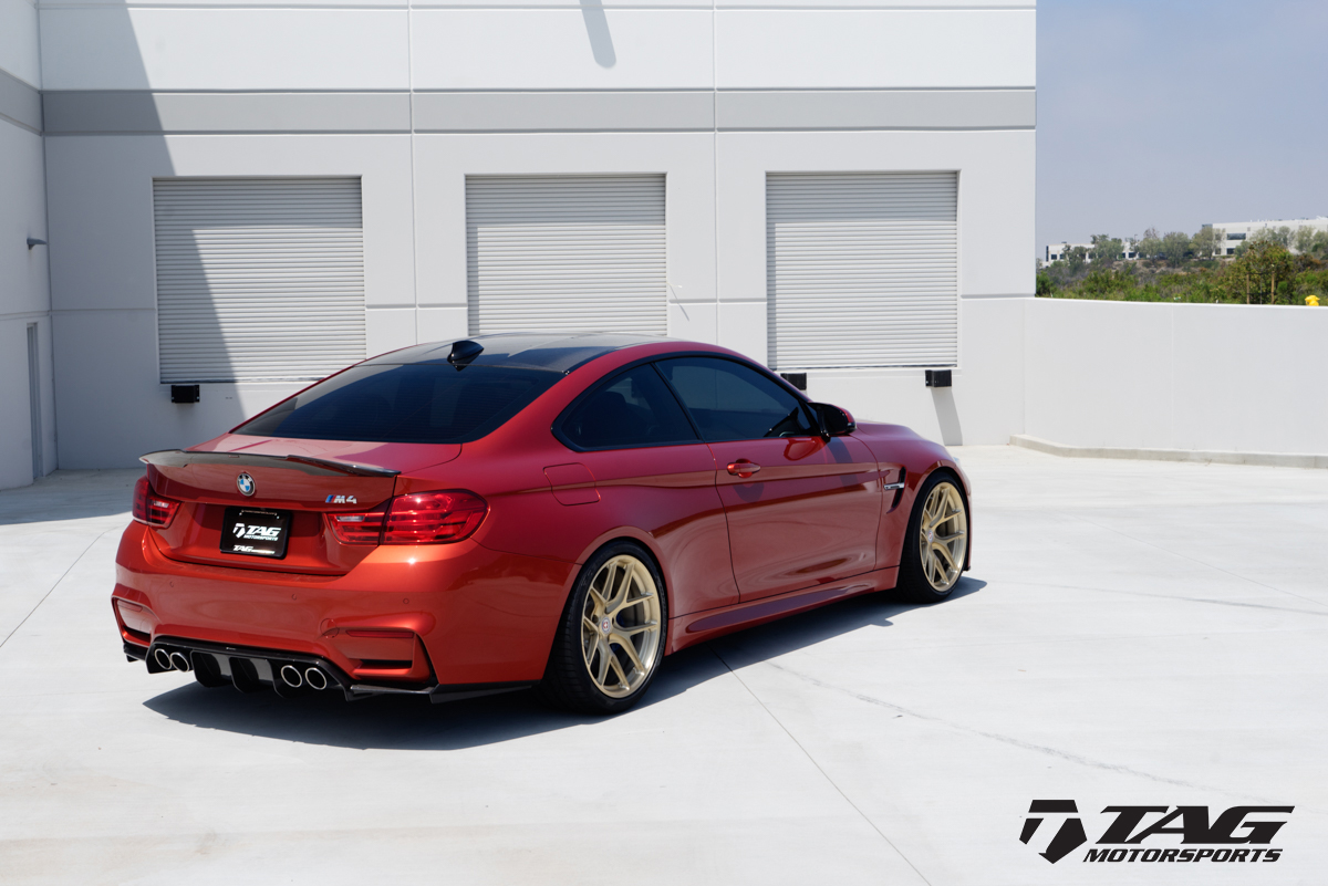 Sakhir-Orange-BMW-M4-with-HRE-R101-Wheels-in-Brushed-Gold-11