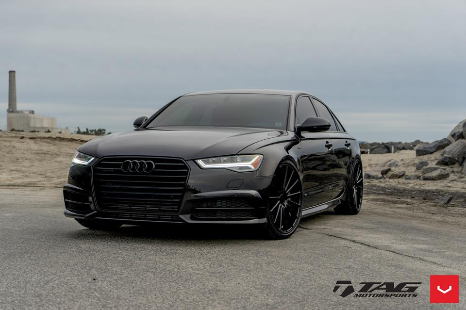 A Blacked Out Audi A6 With Vossen Wheels Damnedwerk